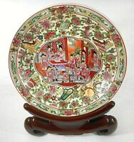Chinese Famille Rose Hand Painted Enameled Porcelain Shallow Bowl with Stand