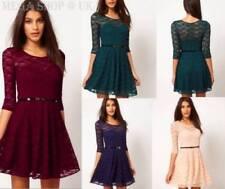 Cotton Blend Dresses for Women with Belt Midi