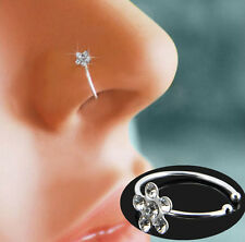 Fashion Small Clear Crystal Flower Nose Ring Stud Hoop-Sparkly Crystal Nose Ring