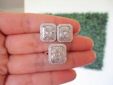 1.44 CTW Diamond Earrings&Ring Set 14k White Gold JS101 / JS2 sep