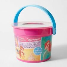 NEW Disney Princess Little Bucket 8 Books, Crayons & Stickers Fun Activity Set!