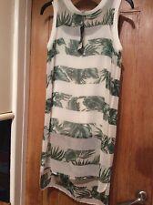 NEXT Women,s Size 6 White & Green Leaves Lined Shift Sleeveless Dress BNWT £26