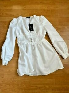 PRETTY LITTLE THING WHITE MILKMAID DRESS - SIZE 10 - BNWT