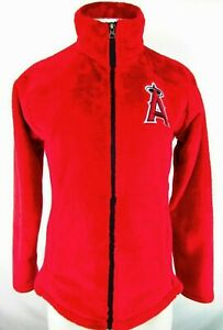 Los Angeles (Anaheim) Angels Women's Red Fuzzy Jacket Embroidered Logo MLB M