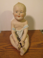 "Antique GEBRUDER HEUBACH German Bisque Porcelain PIANO BABY FIGURINE 8"" tall"