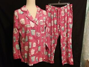 NWT Munki Munki Sz.M Pink SOFT! Flannel Popcorn Movie tickets 2 Piece Pajama Set