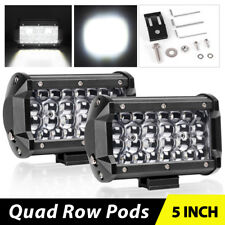 "2X Quad Row 5""IN 168W LED Pods Work Light Bar Spot Beam Driving Offroad Jeep 4x4"