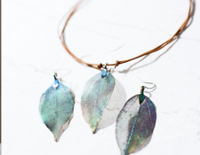 Statement Boho Natural Leaf Necklace & Earrings Set Leather Leaves Rainbow
