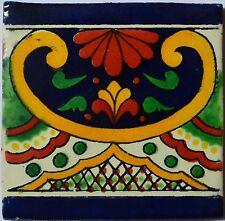 """90 Tiles 4x4"""" Handmade Ceramic Tile Mexican Folk Art C332"""