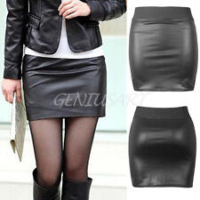 Women Lady Fashion PU Leather Mini bodycon Skirt  Black Clubwear 2017 New
