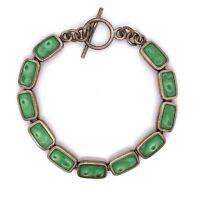 "VTG Estate Azul Hallmark Sterling Silver & Green Enamel Toggle 7 ¾"" Bracelet 197"