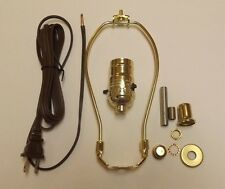 """TABLE LAMP WIRING KIT WITH PUSH THRU SOCKET, 8"""" HARP, BROWN CORD SET 30552P8JB"""