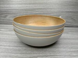 Tommy Bahama Melamine Light Wood Grain Cereal Bowl Set of 4