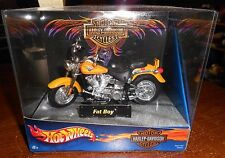 hot wheels 1:18 diecast harley davidson fat boy motorcycle jt116 in the box new