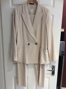Womens - Beige Summer Light Weight Trouser Suit - Size 16 - New