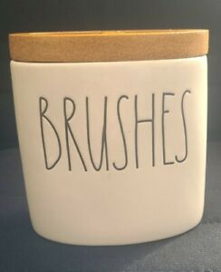 Rae Dunn BRUSHES Wood Top Detail 2 Openings For Brushes Oval New