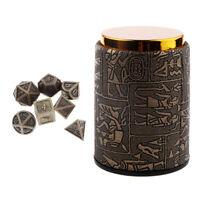 7pcs Polyhedral Dice Set D20 D12 D10 D8 D6 D4 + Rune Egypt Dice Cup for DnD RPG