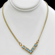 "TOPAZ BLUE 3mm 'V' Shaped AUSTRIAN CRYSTAL 24K Gold Layered 17"" Necklace 