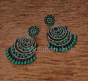 Victorian Hoop Earrings Rose Cut Diamond Emerald Wedding Jewelry Gift For Wife