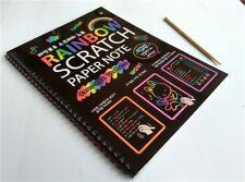 Kids Rainbow Scratch Paper Note Book Girls Large Black Scratch Notepad