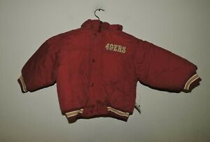 SF 49ers Niners NFL Puffy Boys Jacket  Small Size 4   Hoody NOS