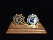 DOUBLE  CHALLENGE COIN HOLDER SOLID WOOD DISPLAY DESK STAND