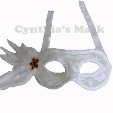 White Lace Venetian Masquerade Mask w/Feathers BZ646C for Party & Display
