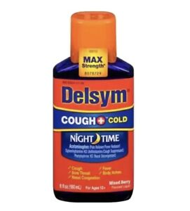 Delsym Cough + Cold Night Time Max Strength Mixed Berry 6 oz Exp: 12/21+