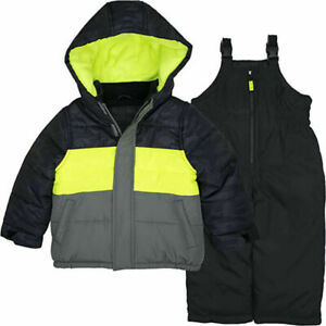 Carter's Boys Black & Neon Yellow 2pc Snowsuit Size 4 5/6 7