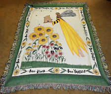 Bee Angel Sunflowers Tapestry Afghan Throw ~ Cindy Shamp