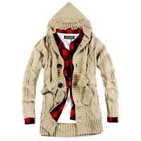 Stylish Men Sweaters Knitwear Knitted Hooded Cardigan Sweater Coat Korean Jacket