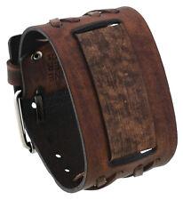 Nemesis DXB-B Double X Pattern Wide Moro Brown Leather Cuff Wrist Watch Band
