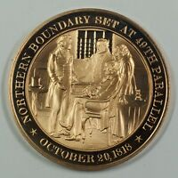 History of the U.S. Northern Boundary 49th Parallel (1818) Proof Bronze Medal