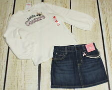 NWT Gymboree Tres Fabulous Petite Couture dog top 5T & pearl jean skirt 4T set