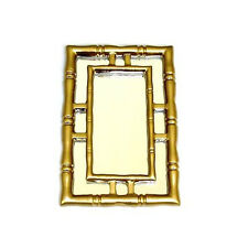 Miniature Asian Golden Bamboo Wall Mirror for 1:12 Scale Modern Dollhouse