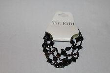 Trifari Gold Tone 3 Strand Black Bracelet *Brand New w/ Tag*