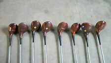ANTIQUE GOLF CLUB SET WITH WHEELED CARRIER