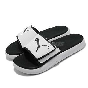 Puma Softride Slide V White Black Strap Men Slip On Sandal Slides 382112-04