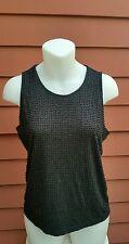 DKNY Beaded Embellished Sleeveless Knit Tank Blouse Top, Black, M