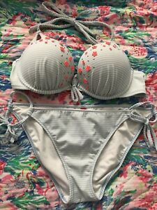 Victoria Secret Bombshell 36B Add Two Cup Sizes   Bottoms L. Rare Blue/white