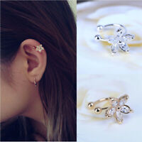 Knorpel Schmuck Crystal Flower Ear Cuff Wickelclip an Fake Ohrring Ohrring