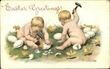 Jenny Nystrom Easter - Bare Butt Babies Open Eggs w/ Hammers Chicks Postcard