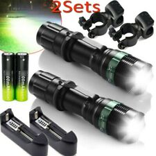 2set High Power Tactical 90000Lumen Zoomable Flashlight Charger & Battery AR