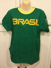 NWT Yellow/Green Soccer Brasil T-Shirt Brazil Mens/Adult S Small Rio Olympic 16