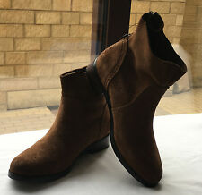 M&S Ladies Brown Suede Leather Zipped Flat Ankle Boots, size 4 1/2