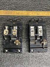 (2) Pushmatic P2020 20 Amp 2 Pole Circuit Breaker Twin Tandem Bulldog 120/240Vac