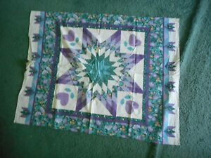 Purple, green, blue, flowers cheater quilt - table top size