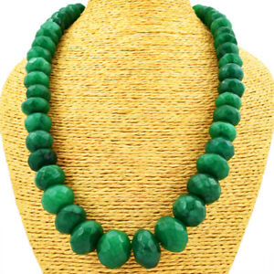 995.00 Cts Earth Mined Single Strand Emerald Round Cut Beads Necklace JK 20E166