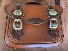 Vintage Look Two-Tone Leather Camera Bag With Removable Insert