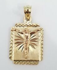 14k Yellow Rose Medallion Jesus Crusifix Crusified Heart Religious Pendant Charm